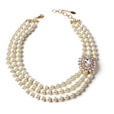 Grace Pearl Necklace ($100) ❤ liked on Polyvore featuring jewelry, necklaces, strand necklace, pearl jewellery, amrita singh jewellery, pearl necklace and white pearl necklace