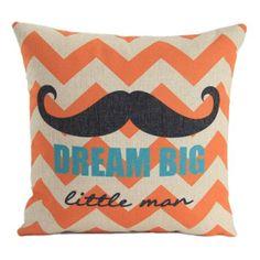 "Amazon.com - MagicPieces Cotton and Flax Dream Big Moustache and Waves Decorative Pillow Case Cover C 18"" x 18"" Square Shape-18 inches-waves-moustache-dream-pop $16.99"