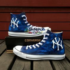 Navy Blue New York Yankees Black High Top Pure Hand Painted Converse Canvas for Women Men