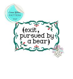 Exit, pursued by a bear. Shakespeare Cross Stitch Pattern
