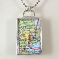 Detroit Michigan Map Pendant Necklace by XOHandworks $20