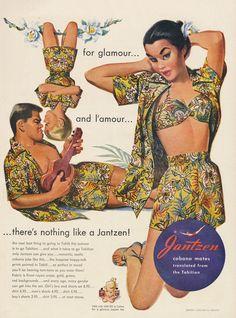 1951 Jantzen Cabana Mates Clothing Ad Tropical Girl's Bra & Shorts Set Vintage Apparel Advertisement Illustrated Print Wall Art Decor