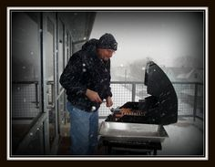 Steeler Tailgate Party, Reb always cooked no matter the weather. Reb was busy every minute of the day and kept the place sparkling and immaculate!  ;-)
