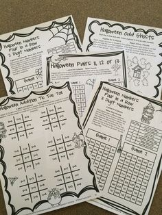 NO PREP game sheets for second grade from   Halloween Math Games Second Grade by Games 4 Learning $