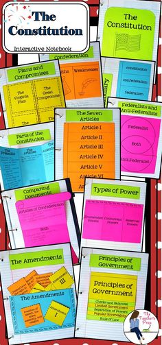 These 10 interactive notebook graphic organizers will help students organize information about the study of the U.S. Constitution! There's even an answer key included!!