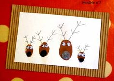 Going to do this! Diy Christmas Reindeer, Childrens Christmas, Kids Christmas, Christmas Crafts, Xmas Cards, Diy Cards, Diy For Kids, Crafts For Kids, Fingerprint Cards