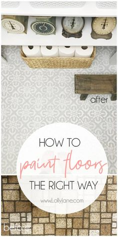 stenciled floor Hate your floors PAINT THEM! Check out how easy it is to paint stenciled floors. Youve GOT to see this remarkable before/after pantry makeover on 40 year old linoleum floors! Painting Linoleum Floors, Linoleum Flooring, Diy Flooring, Hardwood Floors, Flooring Ideas, Painted Bathroom Floors, Painted Floors, Bathroom Flooring, Using A Paint Sprayer