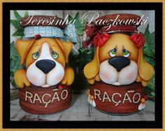 Teresinha Paczkowski: potes de biscuit country, jars, polymer clay