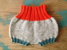 Hand Knit Baby Balloon Diaper Cover/Soaker in Orange, Teal Grey Peruvian Wool.