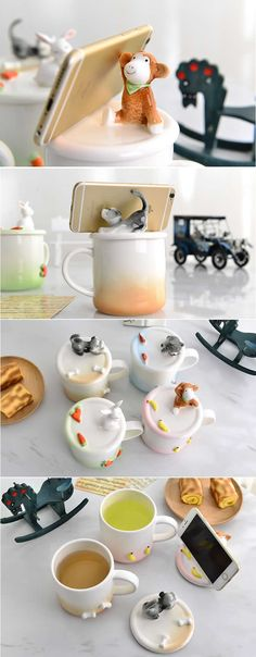 ceramic mug with animal smart phone ipad holder stand lip Porcelain Doll Makeup, Porcelain Dolls For Sale, Fine Porcelain, Clay Cup, Ceramic Coffee Cups, Novelty Mugs, Cute Clay, Modern Ceramics, Ceramic Clay