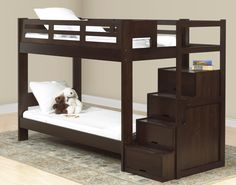Bedroom, Eco Friendly Bedroom With Double Bunk Beds With Stairs With White Mattress And White Pillow: Really Gorgeous Bedroom with Double Bunk Beds with Stairs