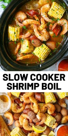 Slow Cooker Shrimp Boil Red potatoes, andouille sausage, shrimp, corn, Old Bay. A classic shrimp boil made without any of the fuss right in your crockpot! Shrimp Slow Cooker, Crock Pot Shrimp, Crock Pot Slow Cooker, Crock Pot Cooking, Shrimp In Crockpot, Cooking Okra, Slow Cooker Potatoes, Crock Pots, Easy Cooking