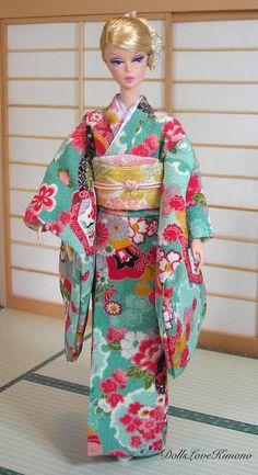 handmade aqua green doll kimono set for Silkstone Barbie and