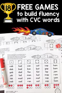 Grab these 18 free games for kids in kindergarten and first grade who struggle with blending CVC words. Print the pages and put them in a folder. Color the trophy to show that students can read a page correctly and quickly. The games build on each other s Reading Fluency Games, Reading Games For Kindergarten, Teaching Reading, Free Reading Games, Kindergarten Phonics, Reading Tutoring, Fluency Practice, Student Reading, Reading Skills
