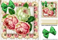 Pretty summer roses in floral frame 8x8 on Craftsuprint - Add To Basket!