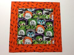 Quilted Halloween Mug Rug, Spooky Faces Mug Rug, Quiltsy Handmade by…
