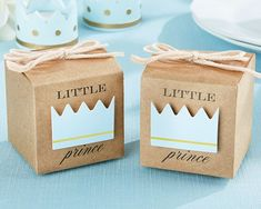 Little Prince Kraft Boy Baby Shower Christening Favour Box