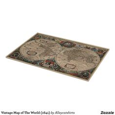 Vintage Map of The World (1641) Cutting Board