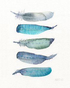 Watercolor and feather art print by Annemette Klit. von TheClayPlay