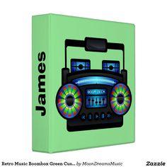 #RetroMusicBoombox #GreenCustomBinder by #MoonDreamsMusic #BackToSchool #SchoolSupplies