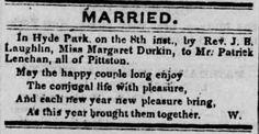 Genealogical Gems: Wedding Wednesday: Durkin weds Lenehan in Pittston...