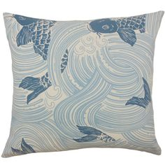 Add a pop of pattern to your sofa or loveseat with this chic pillow, showcasing a swirled koi fish design.Product: Pillow