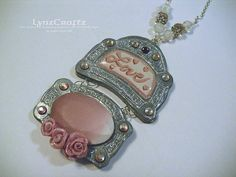 Dusty Rose Love pink & silver polymer clay jewelry by LynzCraftz