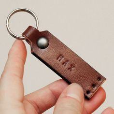 Brown leather key ring with your name by idavictoria on Etsy, $17.00