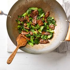 Chinese Ginger Beef Stir-Fry with Baby Bok Choy Recipe - EatingWell Stir Fry Recipes, Beef Recipes, Cooking Recipes, Grilling Recipes, Veggie Recipes, Easy Beef Stir Fry, Diabetic Living Magazine, Bok Choy Recipes, Health