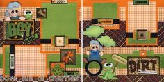 Boy Tire Swing 2 Premade Scrapbook Pages Paper Piecing Scrapbooking by Cherry | eBay