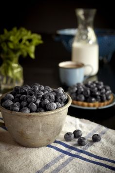 blueberry and blue - reminds me of milking berries off the vine in summer along the creek and the sound of each berry hitting the tin aluminum of the tiny collander pot that was mine for a day - crocks and linens