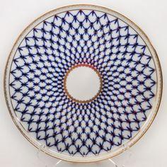 Russian-Imperial-Lomonosov-Porcelain-round-Dish-for-cake-Cobalt-Net-22k-Gold