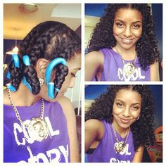 Chunky braid-out on long stretched/straightened hair w/ a center part; ends wrapped on flexy rods.