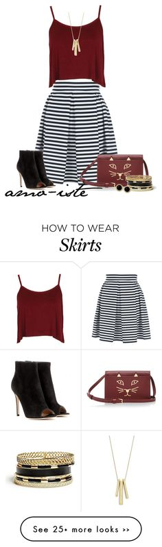 """""""Striped Skirt"""" by amo-iste on Polyvore"""