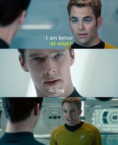 hahahahahahahahahahahahahaha!!!! Chris Pine is a great actor... but pitted against Benedict Cumberbatch.... :P