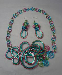 Necklace and earrings Aluminum Wire Jewelry Pinterest