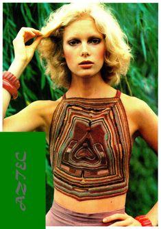 "PDF Crochet Pattern - Vintage 70s ""AZTEC"" Halter Top PATTERN Retro Eco Fashion"