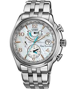 Citizen Watch, Women's Eco-Drive World Time A-T Stainless Steel Bracelet 39mm FC0000-59D - Women's Watches - Jewelry & Watches - Macy's