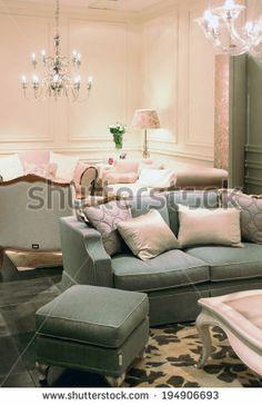 MILANO, ITALY - APRIL 15: Living room interior design background, Salone del Mobile, international home interior design and accessories exhibition in Milano, Italy. - stock photo