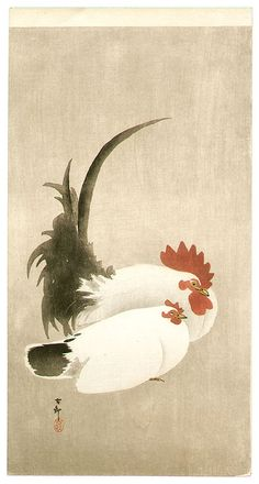 Ohara Koson: Rooster and Hen -  Early 20th century.