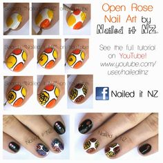 Fall/Autumn Nail Art - Open Roses (with tutorials!) - Nailed It NZ