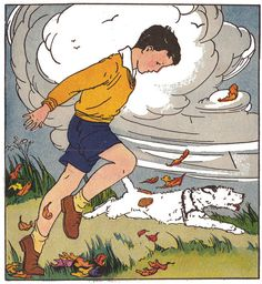 """Run with the wind, Toby!"" from ""The Bob and Judy Reader"" by Grace E. Storm, illustrated by Vera Stone Norman, 1936."