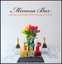 a stunning mimosa bar! You can step up the style at your next cocktail party or brunch with a colorful mimosa bar Fun Drinks, Yummy Drinks, Beverages, Party Drinks, Yummy Food, Graduation Party Foods, Mimosa Bar, Bellini Bar, Mimosa Brunch