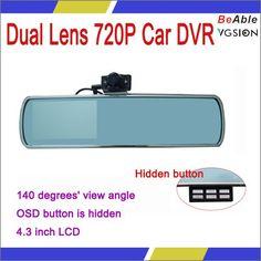 HOT Sales New Rear Mirror Dual Len High standard Dual 720P car DVR dual camera rear mirror