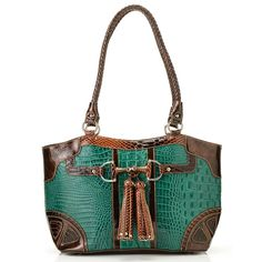 "Madi Claire ""Kristen"" Croco Embossed Leather Tasseled Double Woven Handle Tote Bag evine.com"