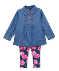 Look what I found on #zulily! Blue & Pink Floral Tunic & Leggings - Infant & Kids by Tommy Hilfiger #zulilyfinds