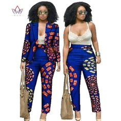 African Clothes for Women Dashiki African Print Clothing 2 Piece Set For Women Pant and Bazin Riche African Batik clothes Both African Dresses For Women, African Attire, African Wear, African Fashion Dresses, Fashion Outfits, African Women, Cheap Fashion, African Print Pants, African Print Clothing