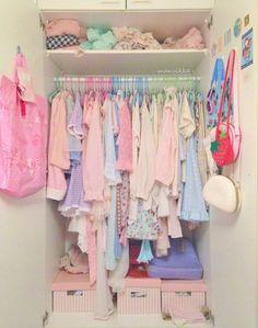 mansikka: My messy closet. It's quite full hehe. Room Ideas Bedroom, Girls Bedroom, Bedroom Decor, Bedrooms, Cute Room Ideas, Cute Room Decor, Pastel Room, Pink Room, Pastel Colors