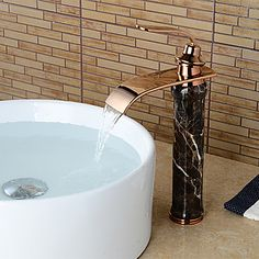 Modern Waterfall Brass Imitation Jade Rose Gold Bathroom Sink Faucet http://www.tapso.co.uk/modern-waterfall-brass-imitation-jade-rose-gold-bathroom-sink-faucet-p-204.html