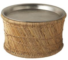 Caribe Round Metal and Rattan Coffee Table